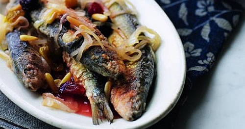 Sardines in saor with kale, garlic and chilli