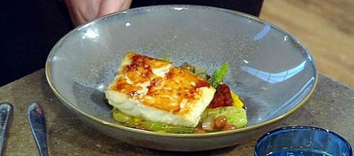 Roast cod with chorizo, fennel and saffron aioli